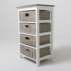 Storage Cabinet with Wicker Baskets | ... Bay Four Basket Storage Unit - Storage & decorative storage units | My Web Value