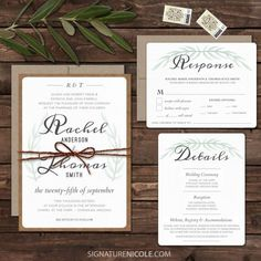 Rustic BoHo Wedding Invitation Suite - Wedding Invitation Set, RSVP, Detail - QUICK DELIVERY - Organic, Olive Leaves, Set of 10