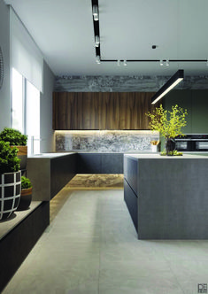 A minimalist kitchen is easy to clean and maintain. It looks chic and in tune with modern interior décor. Minimalism helps to relieve the clutters of a small home as well as a spacious one. Farmhouse Style Kitchen, Modern Farmhouse Kitchens, Home Decor Kitchen, Rustic Kitchen, Kitchen Interior, Kitchen Ideas, Luxury Kitchens, Home Kitchens, Minimalist Kitchen Inspiration