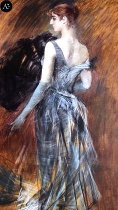 Giovanni Boldini | Signora bionda in abito da sera