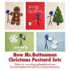 New Buttonman Christmas Postcard Sets by Joelle Gebhardt. Pre-order at www.blog.joellegebhardt.com before Nov. 2nd for a discounted price!