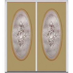 Milliken Millwork 62 in. x 81.75 in. Heirloom Master Decorative Glass Full Oval Lite Painted Fiberglass Smooth Exterior Double Door, Sandal