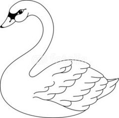 Swan pattern. Use the printable outline for crafts