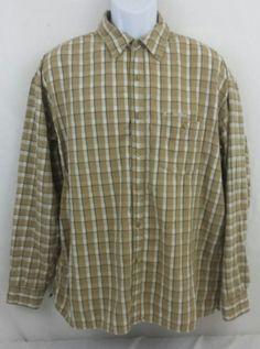 U.S. Polo Assn. Long Sleeve Button Front XL 100% Cotton Plaid Tan Shirt Mens #USPoloAssn #ButtonFront