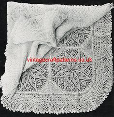 Knitted Square baby shawl viennese lace style by Ellisadine, £1.45