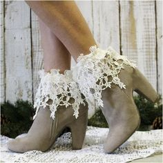 Long lace socks for booties Cute booties need great socks! These super pretty rosebud trellis lace socks are perfect! Ivory crochet knit socks fit size Made in U SA Catherine Cole Studio Accessories Hosiery & Socks Lace Boot Socks, Ankle Socks, Socks For Flats, Rose Lace, Bare Foot Sandals, Knitting Socks, Knit Socks, Short Boots, Vintage Shoes