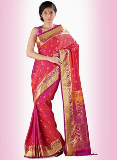 Opulent Art Silk Hot Pink and Orange Casual Saree