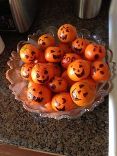 Simple Halloween decoration and snack...it's so obvious...yet it never crossed my mind!