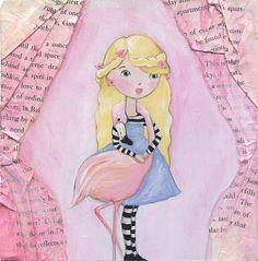Alice in Wonderland and The Flamingo Art Print