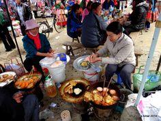 A food vendor prepares quick meals for hungry shoppers