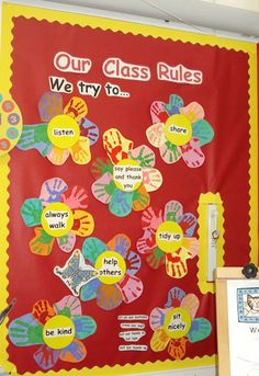 A super Class Rules classroom display photo contribution. Great ideas for your classroom! Classroom Charts, Eyfs Classroom, Infant Classroom, Classroom Board, Classroom Layout, Classroom Organisation, Classroom Behavior, School Classroom, Bulletin Boards