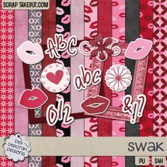 """Remember the old saying, """"Sealed with a Kiss?"""" Well, here is just the most adorable mini kit for all those lovey-dovey moments in your life, Kit comes with 12 papers. 7 patterned and 5 solid sheets. All papers are 12 X 12 at 300 dpi (3600 X 3600). There are 10 elements including 1 flower, 2 frames, 4 kisses, 2 stickers, 1 swirl."""