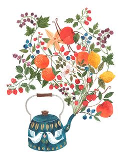oana befort illustration, teapot illustration, lovely illustration, romanian artist, atelierul de print, cadou de arta, lovely gift, childrens room, kids illustration, flowers in teapot, doves, dove teapot, strawberry illustration, tea and nature A Teapot's Dream Oana Befort