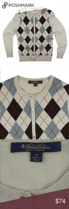 """BROOKS BROTHERS 100% Cashmere Argyle Cardigan Absolutely excellent condition. This Beige, blue and brown Argyle Cardigan sweater from Brooks Brothers features button closures. Made of 100% Cashmere. Measures: bust: 36"""", total length: 23"""", sleeves: 24"""" Brooks Brothers Sweaters Cardigans"""