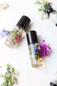 DIY Perfume Roll On Made with Essential Oils and Gathered Flowers