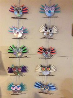 Recycling CDs into hanging owls