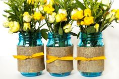 yellow and blue Mason Jars Wedding Ideas | Sarah Hearts | Mason jar wedding idea Pin this to one of your boards ...