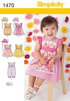 Simplicity Creative Group - Babies' Dress, Romper and Hat in Three Sizes