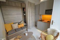 Une chambre de bonne parisienne rénovée et optimisée par la décoratrice et architecte d'intérieur, Aurore Pannier.
