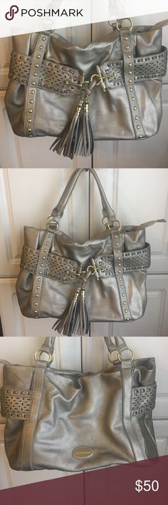 Big Buddha Pewter Satchel Excellent condition with no signs of wear. Paisley interior with one zipper compartment and two open compartments. Large and roomy! Extensive silver hardware and fringe accent. Big Buddha Bags Satchels