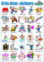 English worksheet: AT THE CIRCUS - PICTIONARY
