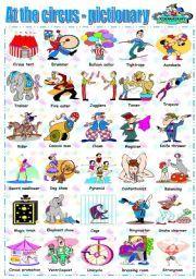 English worksheet: AT THE CIRCUS - PICTIONARY