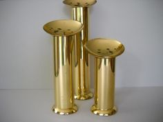 Set of 3 Danish Modern Style Brass Metal Goldtone Candle Holders Candlesticks by Modernaire on Etsy https://www.etsy.com/listing/240870642/set-of-3-danish-modern-style-brass-metal