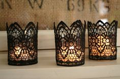 elegant black lace candle holders keep Halloween parties sophisticated while paying homage to traditional Gothic All Hallow's Eve. Halloween Decorations: Bathroom Edition from Bathroom Bliss by Rotator Rod Diy Halloween Decorations, Halloween Crafts, Halloween Party, Holidays Halloween, Halloween Buffet, Classy Halloween, Halloween Jack, Creepy Halloween, Adult Halloween
