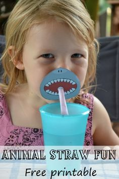 Add a little Drama to your drinks with this Animal Straw printable. shark, warthog, lion and snake straw mask. Animal Birthday, Boy Birthday, Animal Party, Animal Fun, Animal Faces, Shark Party, Festa Party, Under The Sea Party, Activities For Kids