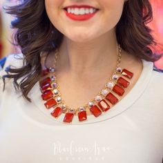Burgundy Rectangle Collar Necklace - BlueGreenAqua boutique