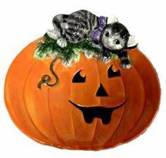 Fitz and Floyd Halloween Kitty Canape Plate Pumpkin Plate NOS Original Box PKG