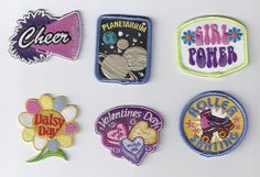 Cute emblem uploaded by りっぷちゃん on We Heart It Cute Patches, Pin And Patches, Iron On Patches, Patches Tumblr, Girl Scout Patches, Emblem, Embroidery Patches, Diy Embroidery, Ol Days