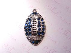 Silver Plated Football Crystal Sports Pendant in Blue Team Colors