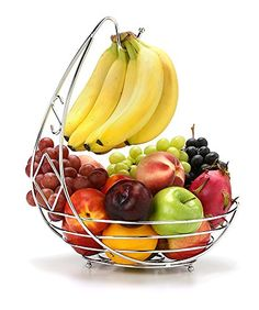 Hang your bananas to avoid 'resting bruises' and allow them to ripen evenly Grab and go - our generously sized basket holds a whole bag of apples or oranges Save counter space - vertical design hangs bananas leaving the whole basket for fruit Fruit Basket with Banana Hanger - Chrome Finish Wrought Iron - 15 inches tall 11.75 inches diameter