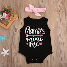 Newborn Baby Girl Letter Romper Sleeveless Black Jumpsuit Playsuit Outfits (12-18 Months)