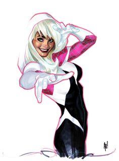 Original Comic Art titled Spider-Gwen by Adam Hughes NCCC Cover, located in J M's Adam Hughes Comic Art Gallery Comic Book Artists, Comic Book Characters, Comic Artist, Comic Books Art, Adam Hughes, Marvel Comics Art, Bd Comics, Comics Girls, Gwen Spider