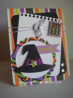 Halloween Card Witch Hat Card October 31 by CraftyClippingsbyPeg