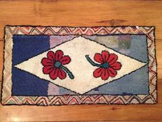 Early American Antique 19th Century Wool Hooked Rug Table Runner | eBay
