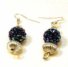 Blue Sparkly Beaded Earrings. via Etsy.
