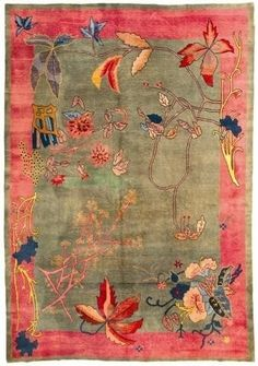 beautiful colors and composition on this Art Deco Chinese rug. New Winterthur exhibit - Retail Update Chinoiserie, Patterns Background, Blog Art, Art Deco Rugs, Art Decor, Decoration, Berber, Carpet Trends, Carpet Styles