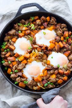Sweet Potato Hash with Sausage and Eggs {Paleo & Whole30} | The Paleo Running Momma