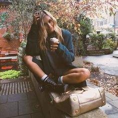 Rainy winter days call for oversized sweaters, long socks and a whole lot of coffee ☕️ Sarah Ellen, I Love Coffee, Hippie Gypsy, First Girl, Casual Street Style, Passion For Fashion, Fashion Models, Autumn Fashion, Wattpad