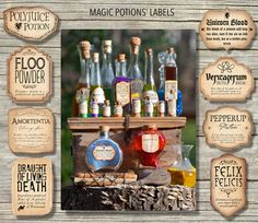 12 Harry Potter inspired Magic Potions Labels - 4 NEW POTIONS JUST ADDED! Printable Files - in 3 different sizes! For a perfectly magical 'Potions Table' place these labels on glass bottles and containers, in varied shapes and sizes, filled with colorful liquid. Enhance them with corks or by putting plastic frogs, geckos, eye balls or dry ice inside! Or use them on your sand art craft activity. Create whimsical party favors placing the Mini Magic Potions' Labels on small glass or plastic…
