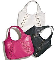 Colorful Chic Handbag - Leatherlike with grommets and mixed studs. Double shoulder strap with magnetic snap closure. Fully lined, with one zip and two slip pockets. Regularly $29.99, buy Avon Fashion products online at http://eseagren.avonrepresentative.com