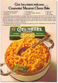 Vintage Food Ad: Creamettes Macaroni Cheese Bake (click image to ...