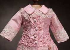 Antique French Pink Silk Dress for Jumeau Bru Steiner Eden Bebe doll from respectfulbear on Ruby Lane