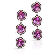 Anne Sisteron  14KT Yellow Gold Ruby And Pink Sapphire Diamond... (€6.070) ❤ liked on Polyvore featuring jewelry, earrings, gold, pink sapphire earrings, diamond jewelry, earring jewelry, diamond earring jewelry and diamond earrings