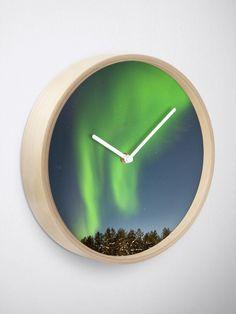 """Northern Lights VI"" Clock by juneaasheim Northern Lights, Finding Yourself, June, Clock, Interior, Wall, Design, Watch, Indoor"