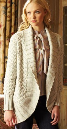 """Free knitting pattern for Estelle Cardigan by Debbie Bliss - #ad Cable circle jacket sweater with shawl collar. To Fit Bust: 32-44"""" tba"""