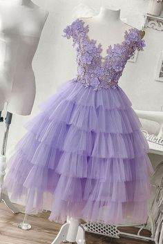 dresses lavender handmade dresses Eye-Catching Lavender V-Neck Top Appliques Layered Tulle Homecoming Dresses, Cupcake Homecoming Dresses from customdresskoko Lavender Homecoming Dress, Lilac Prom Dresses, Purple Evening Dress, Two Piece Homecoming Dress, Quince Dresses, Flower Dresses, Purple Dress, Homecoming Dresses, Evening Dresses